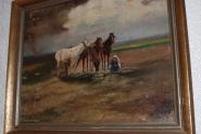 Ölbild Pferde mit Kind